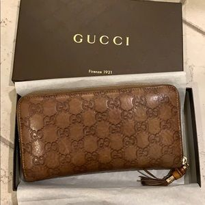 Gucci Guccissma Light Brown Long Zip Around Wallet
